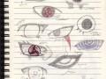 Зарисовки глаз в блокноте